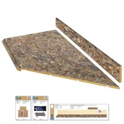 8 ft. Laminate Countertop Kit with Right Miter in Winter Carnival with Premium Quarry Finish and Valencia Edge