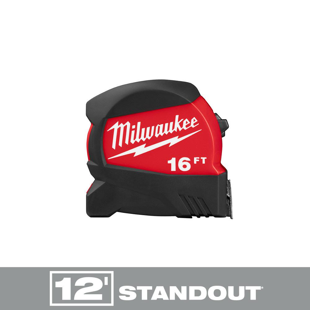 Milwaukee Milwaukee 16 ft. x 1.2 in. Compact Wide Blade Tape Measure with 12 ft. Standout