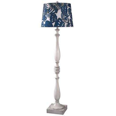 61.5 in. Old-White Distressed Floor Lamp with Blue/White Styrene Shade