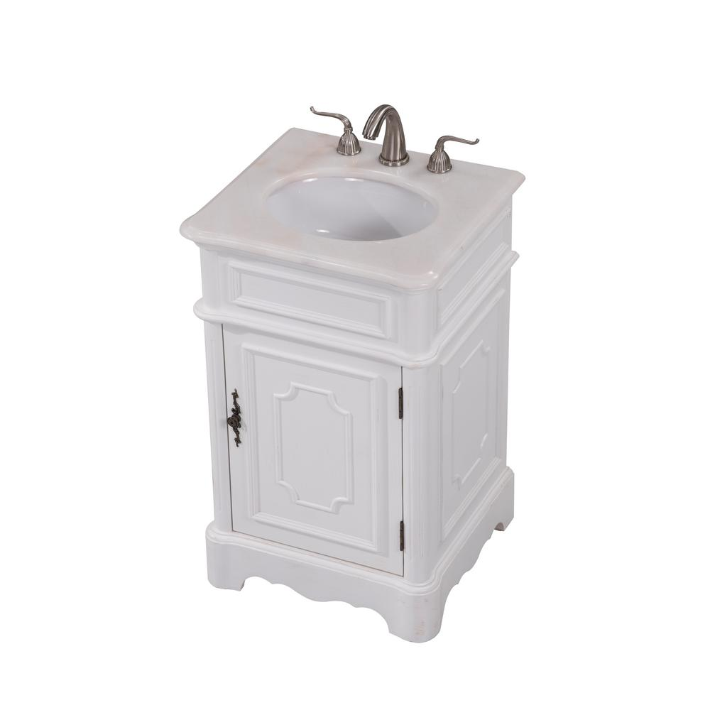 Grifton 21 in. Single Bathroom Vanity with 1-Shelf 1-Door Marble Top Porcelain Sink in Antique White Finish
