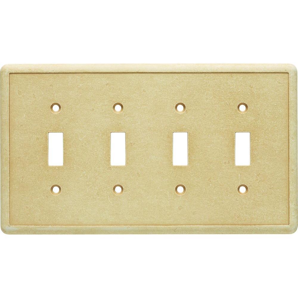 Hampton Bay 4-Gang 4 Toggle Cast Stone Wall Plate, Gold
