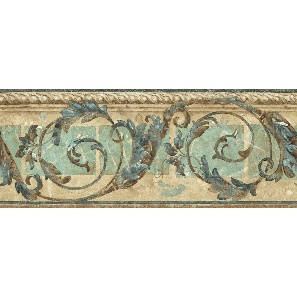 The Wallpaper Company 8 in. x 10 in. Blue and Beige Traditional Scroll Border Sample