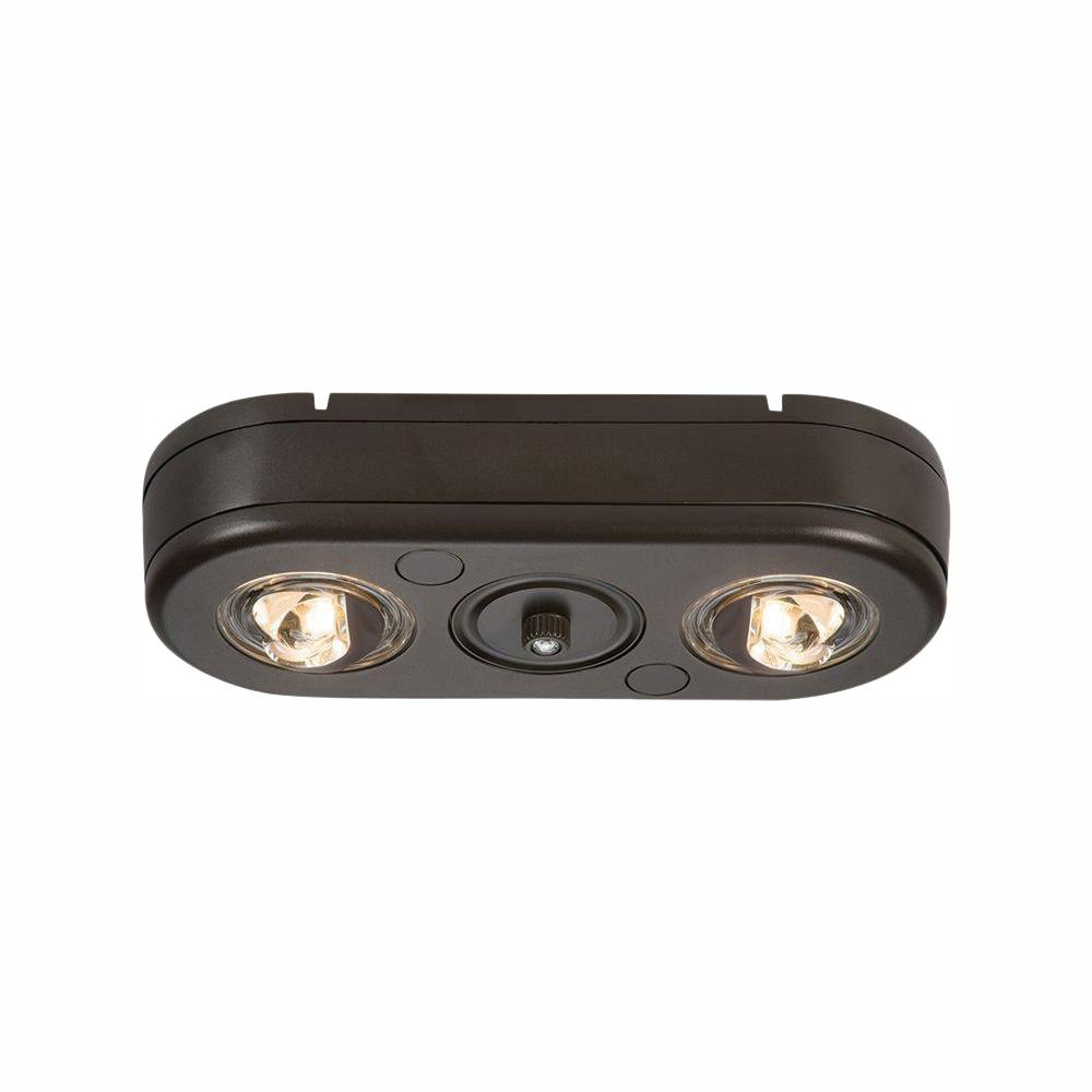All Pro Revolve Bronze Twin Head Dusk To Dawn Outdoor Integrated Led Security Flood Light With Photocell Sensor 5000k Daylight