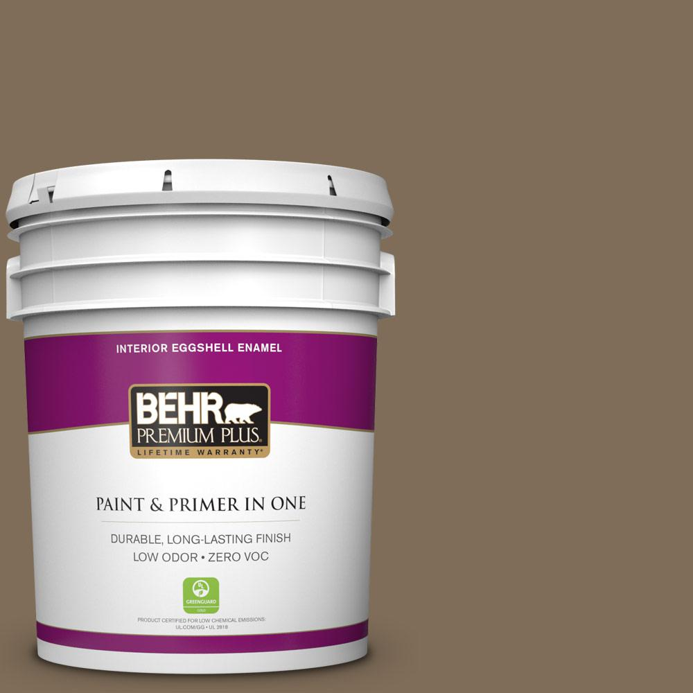 BEHR Premium Plus 5 gal. #710D-6 Butternut Wood Zero VOC Eggshell Enamel Interior Paint, Browns/Tans