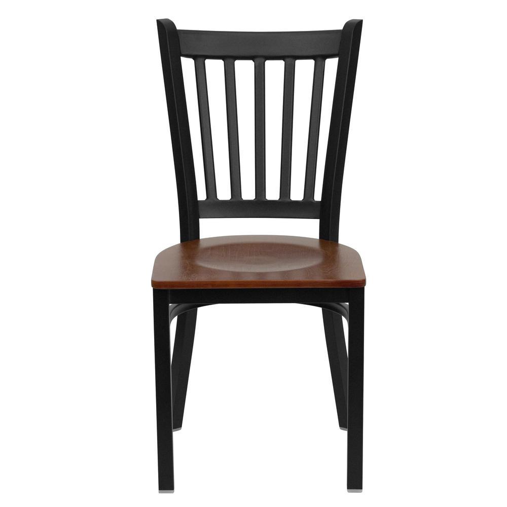 Hercules Series Black Vertical Back Metal Restaurant Chair with Cherry Wood Seat