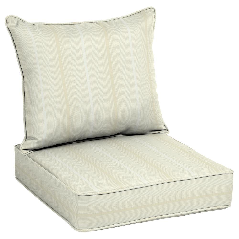 25 in. x 21 in. Acrylic Beige Stripe Outdoor Deep Seat Lounge Cushion Set