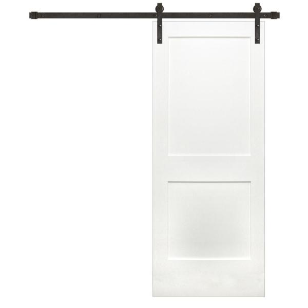 Pacific Entries 36 In X 84 In Shaker 2 Panel Primed Wood Interior Sliding Barn Door With Bronze Hardware Kit P3220 36 10b The Home Depot