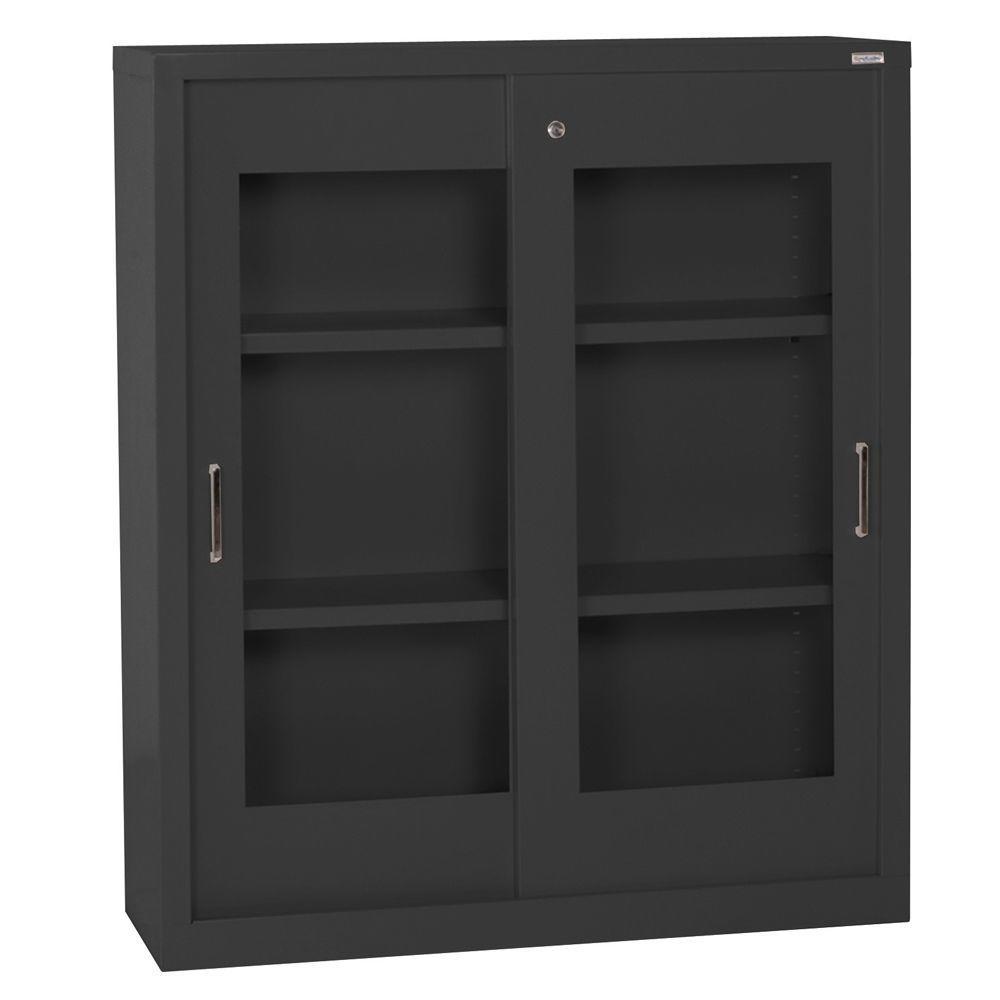 Sandusky 42 in. H x 36 in. W x 18 in. D Freestanding Steel Sliding Acrylic Doors Cabinet in Black