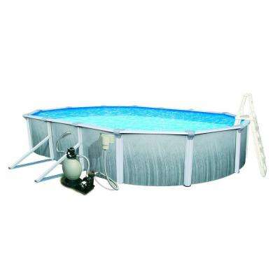 Martinique 18 ft. x 33 ft. Oval 52 in. Deep 7 in. Top Rail Metal Wall Swimming Pool Package