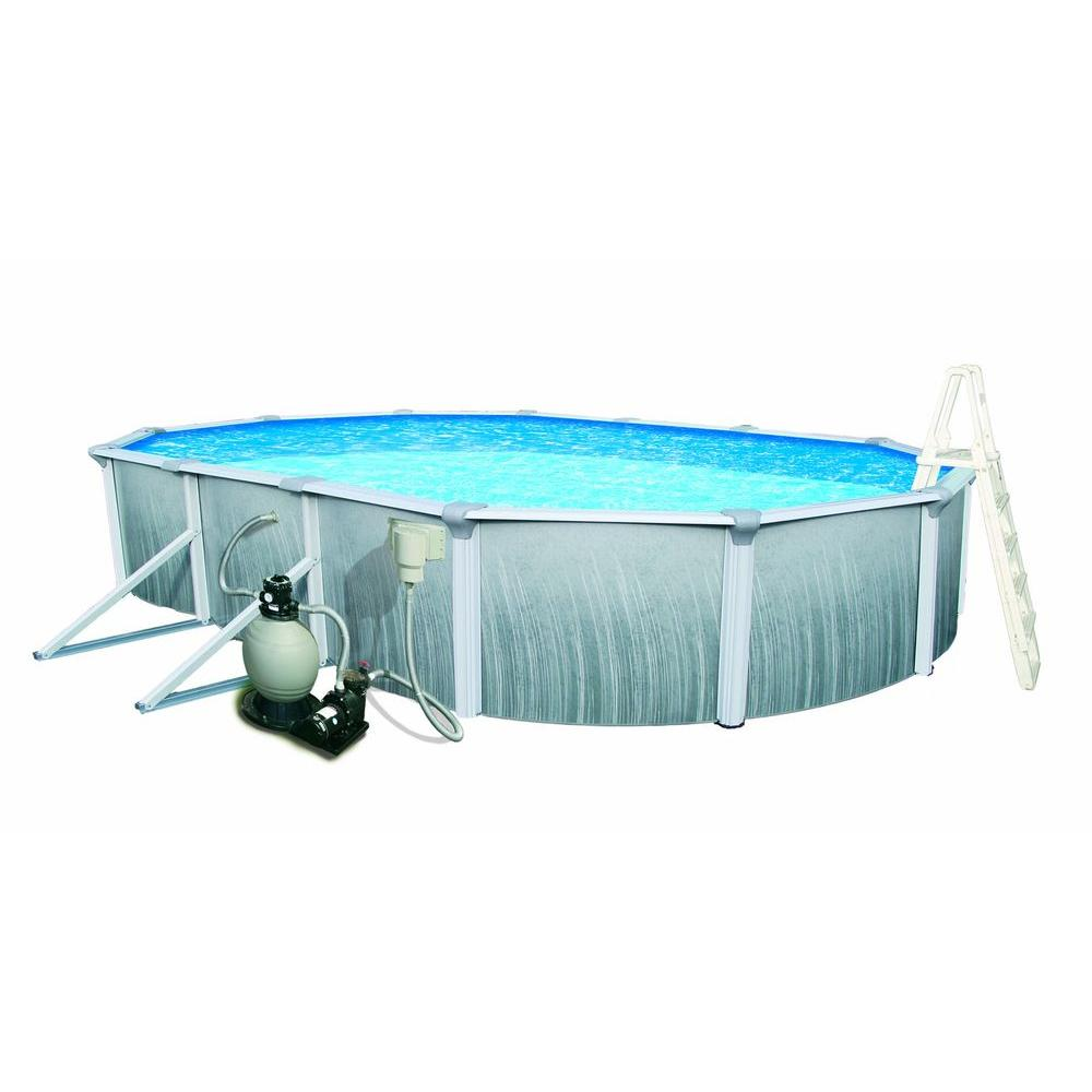 Blue Wave Martinique 18 ft. x 33 ft. Oval x 52 in. Deep Metal Wall Above  Ground Pool Package with 7 in. Top Rail