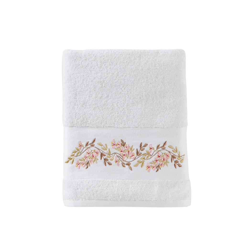 Misty White Floral Cotton Single Bath Towel