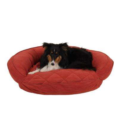 Small Earth Red Microfiber Quilted Bolster Bed with Moister Protection