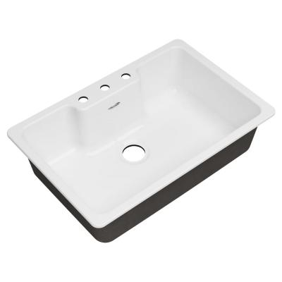 Quince Drop-in Cast Iron 33 in. 3-Hole Single Bowl Kitchen Sink in Brilliant White