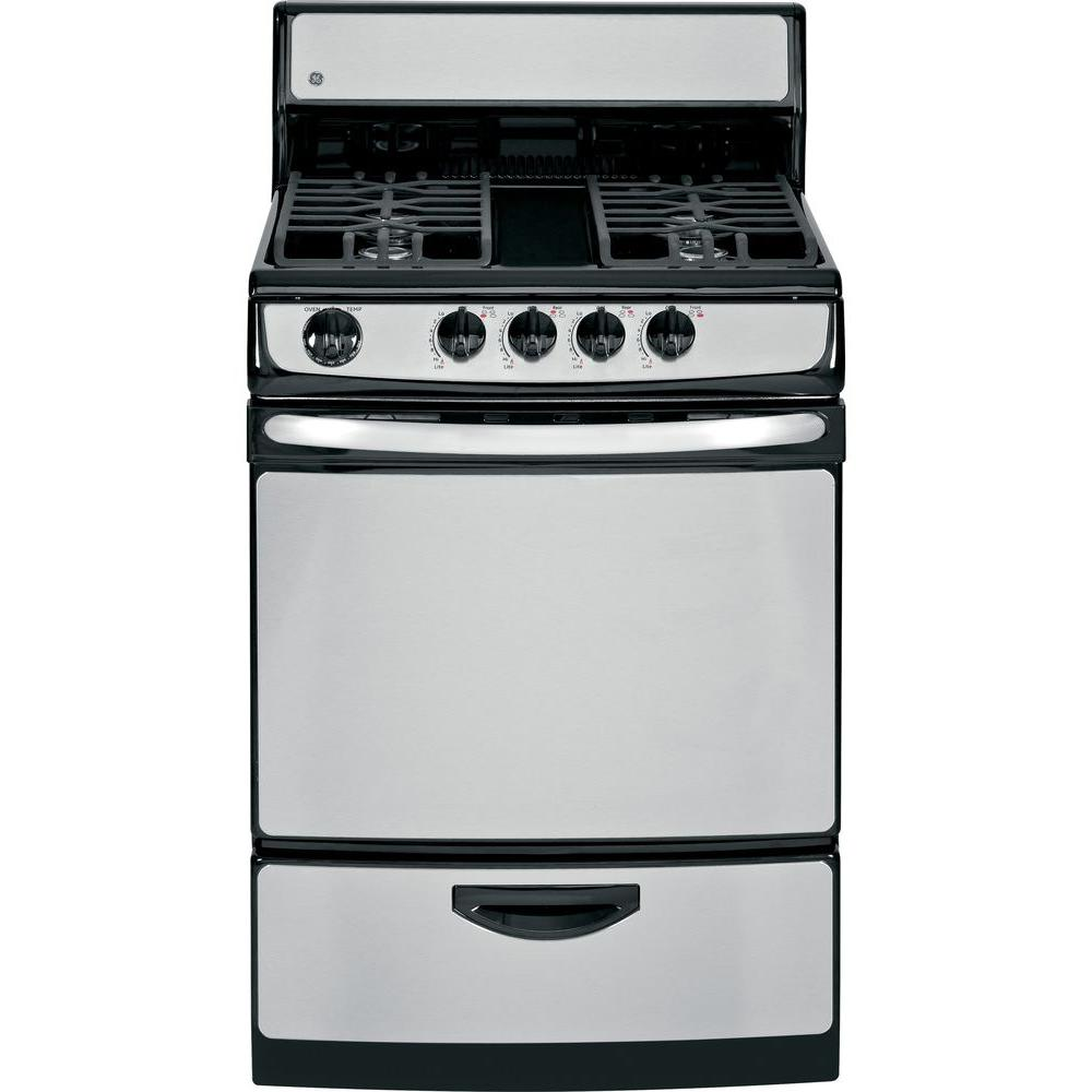GE 24 in. 3.0 cu. ft. Gas Range in Stainless Steel