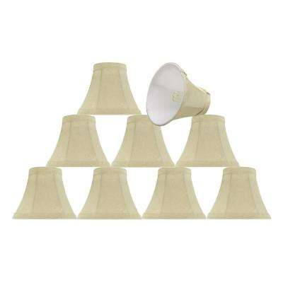 6 in. x 5 in. Butter Creme and Checkered Pattern Bell Lamp Shade (9-Pack)