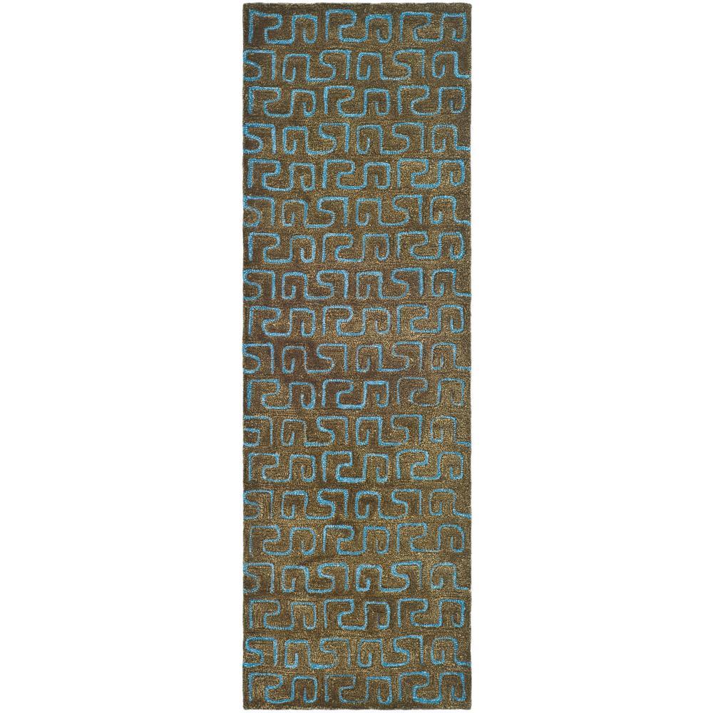 Soho Brown/Light Blue 2 ft. 6 in. x 8 ft. Runner