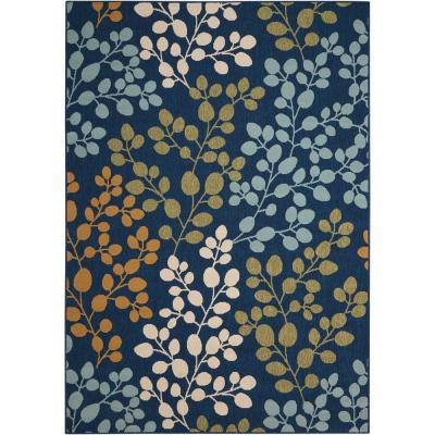 Caribbean Navy 9 ft. x 13 ft. Floral Contemporary Indoor/Outdoor Area Rug
