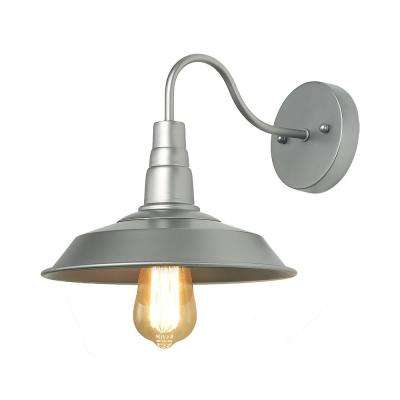 1-Light Silver Gooseneck Sconce with Metal Shade