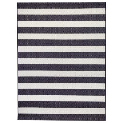 Nautical Stripes Navy 8 ft. x 10 ft. Indoor/Outdoor Area Rug