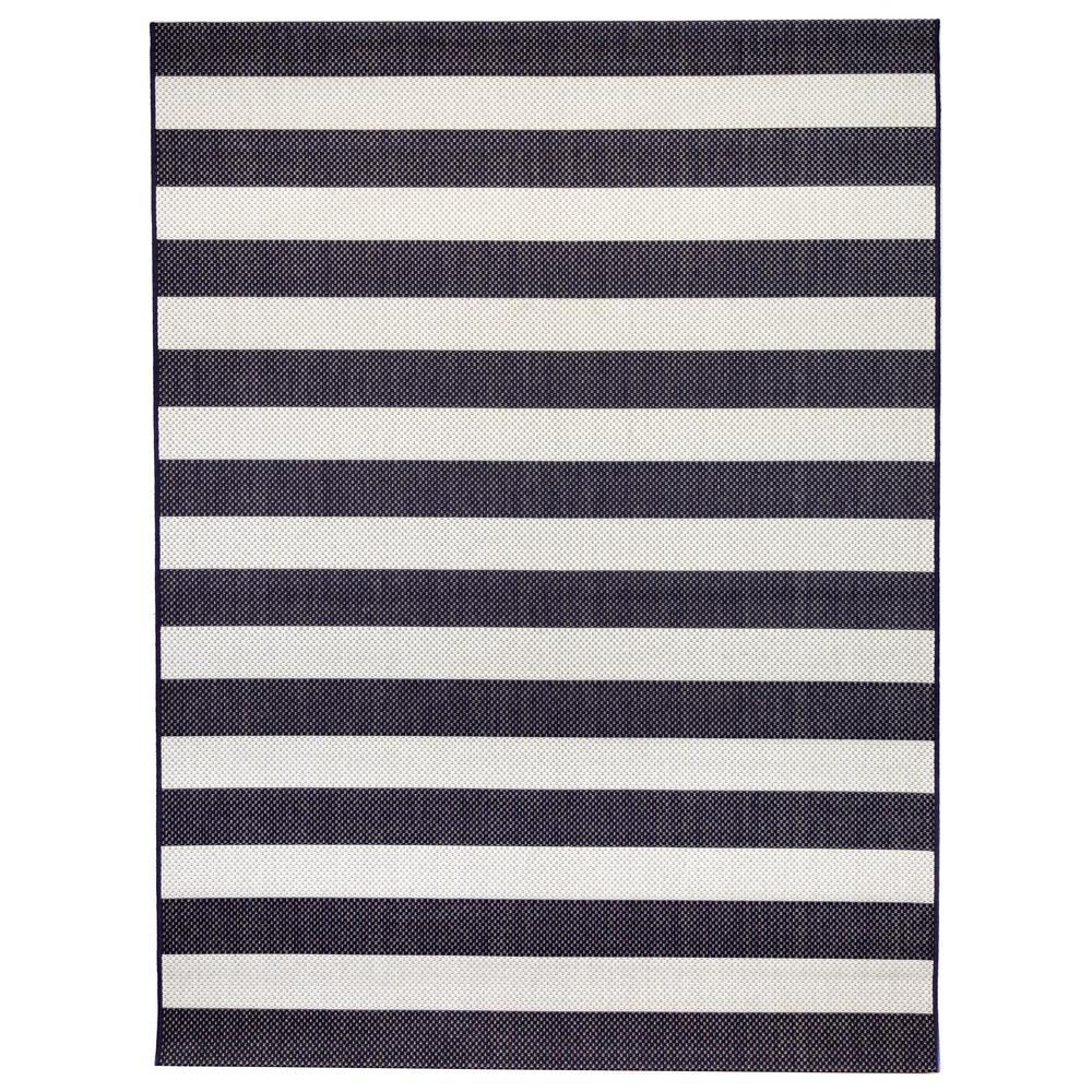 Nautical Stripes Navy 7 ft. 10 in. x 9 ft. 10 in. Indoor/Outdoor Area Rug