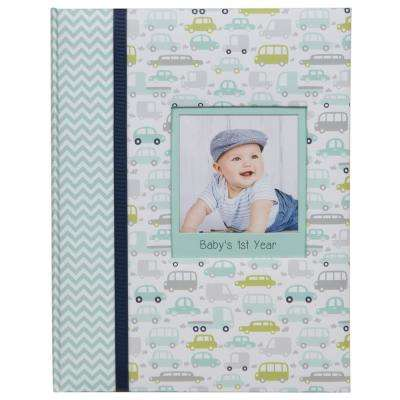 Baby Milestone Journal 4 in. x 6 in. Blue Photo Album Picture Frame