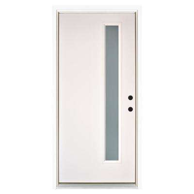 36 in. x 80 in. Smooth White Left-Hand Inswing Narrow 1-Lite Frosted Fiberglass Prehung Front Door
