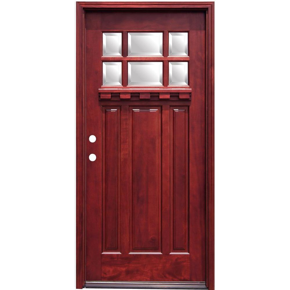Pacific entries 36 in x 80 in craftsman 6 lite stained for Wood entry doors