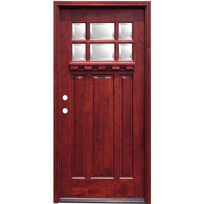 Craftsman 6 Lite Stained Mahogany Wood Prehung Front Door with Dentil Shelf