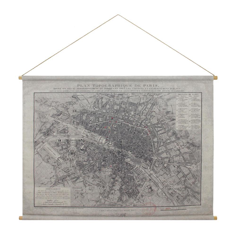 Paris Map Hanging Linen Tapestry