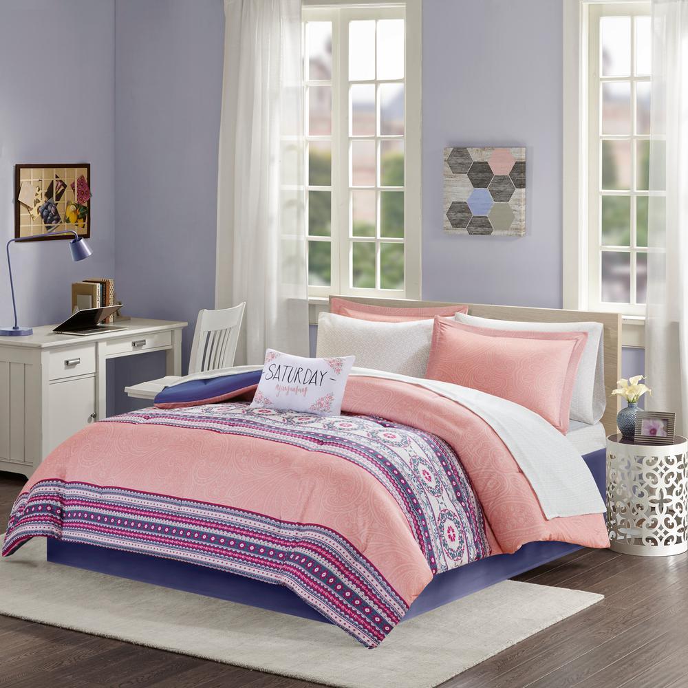 Gloria 7-Piece Coral Twin Boho Comforter Set
