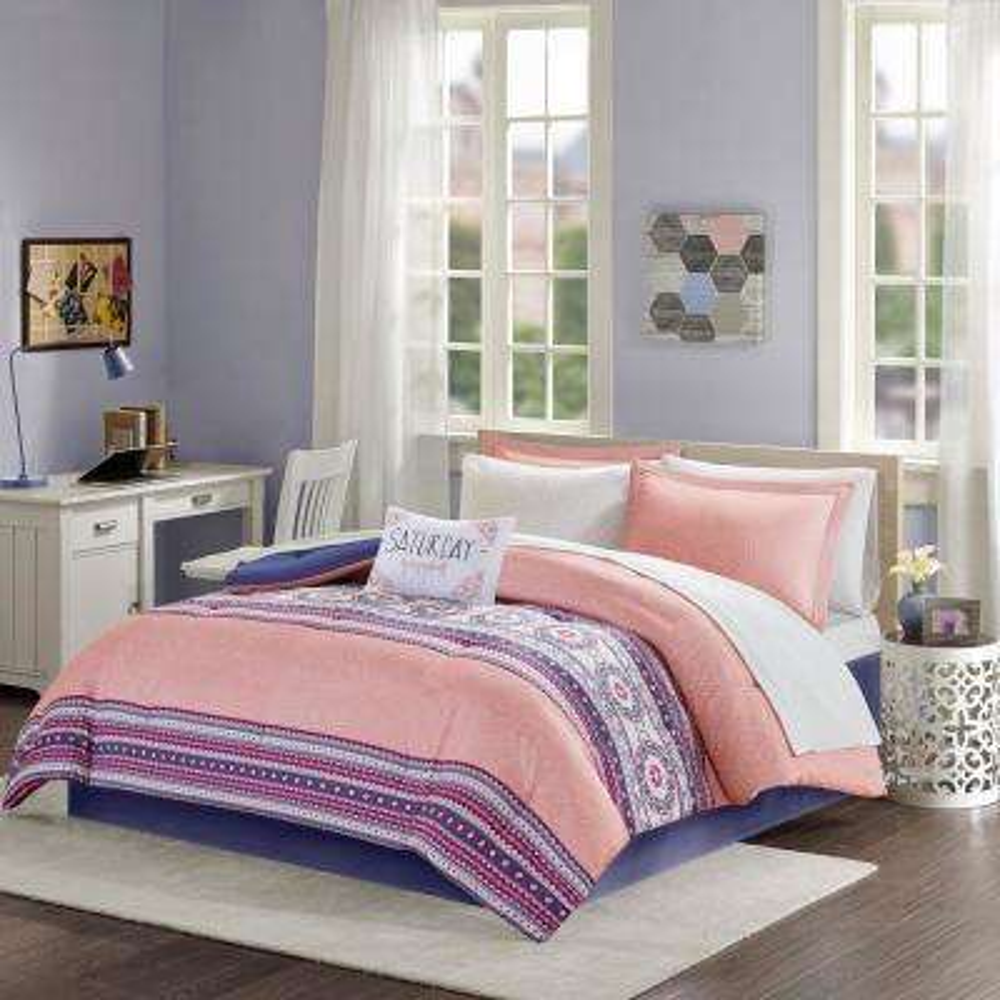 Gloria 9-Piece Coral Full Boho Comforter Set