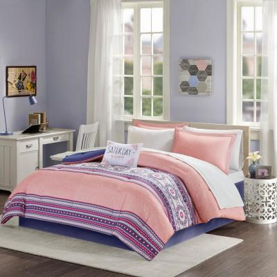 Gloria 9-Piece Coral Queen Boho Comforter Set