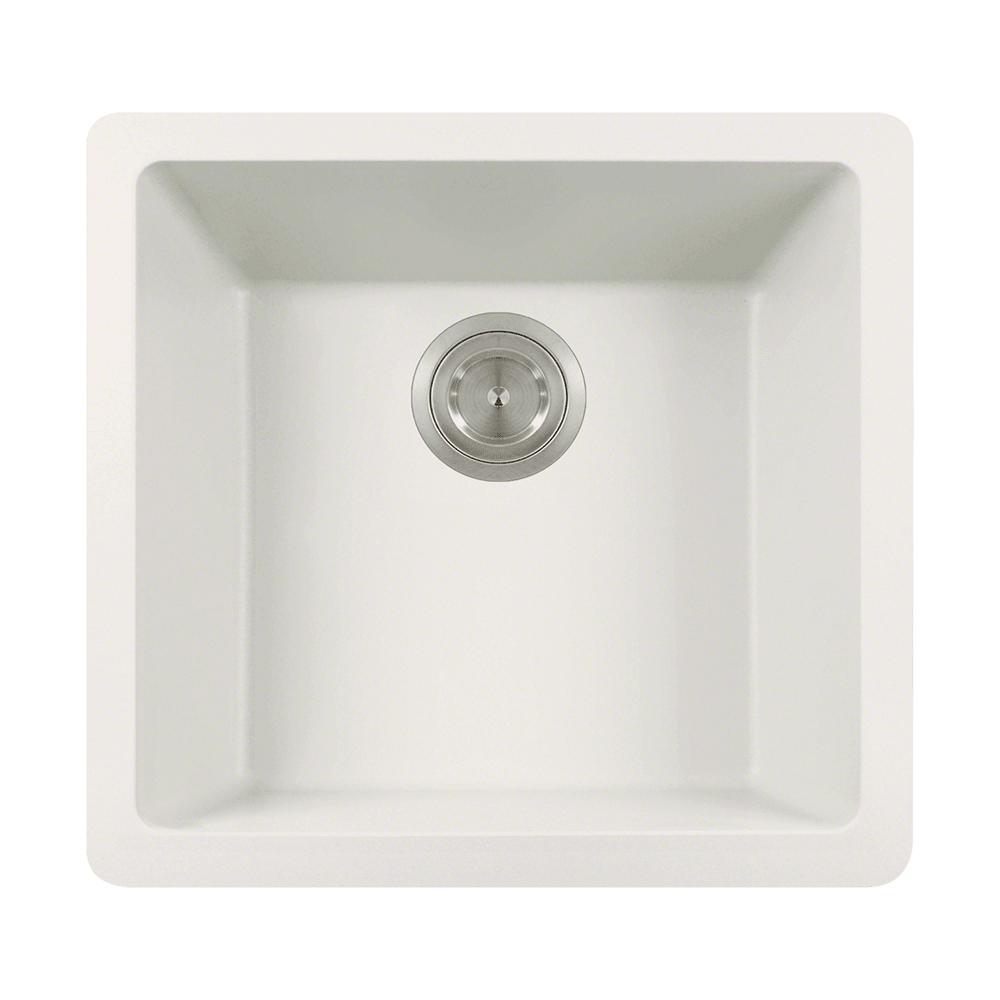 Dualmount Granite Composite 18 in. Single Bowl Kitchen Sink in White