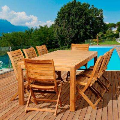 Wilk 9-Piece Teak Rectangular Patio Dining Set