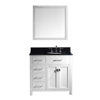 Caroline Parkway 36 in. W Bath Vanity in White with Granite Vanity Top in Black with Round Basin and Mirror