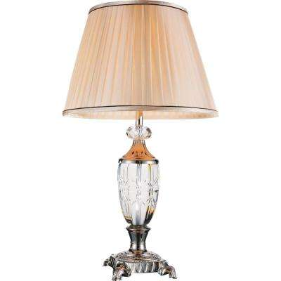 Yale 27 in. Brushed Nickel Table Lamp with Beige Shade