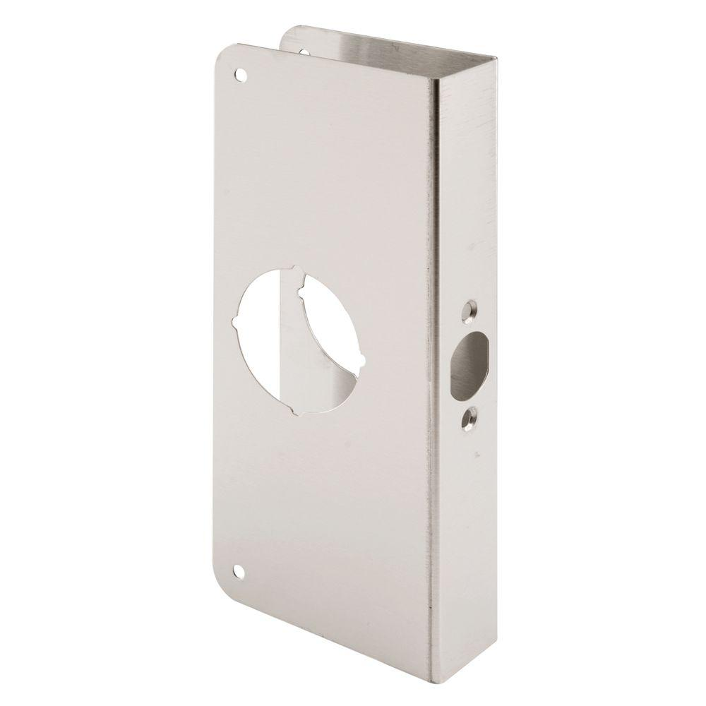 Prime-Line 1-3/8 in. Thick Stainless Steel Recessed Door Reinforcer, 2-1/8 in. Single Bore, 2-3/8 in. Backset