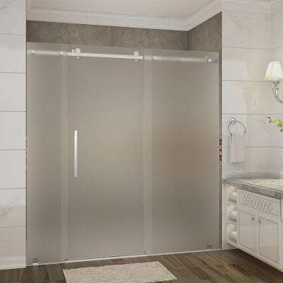 Moselle 72 in. x 35 in. x 77.5 in. Frameless Sliding Shower Door, Frosted Glass in Stainless Steel with Left Base