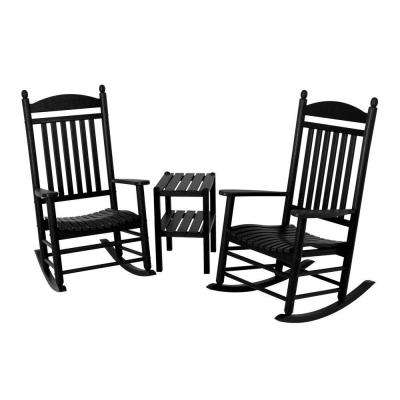 Jefferson Black 3-Piece Patio Rocker Set