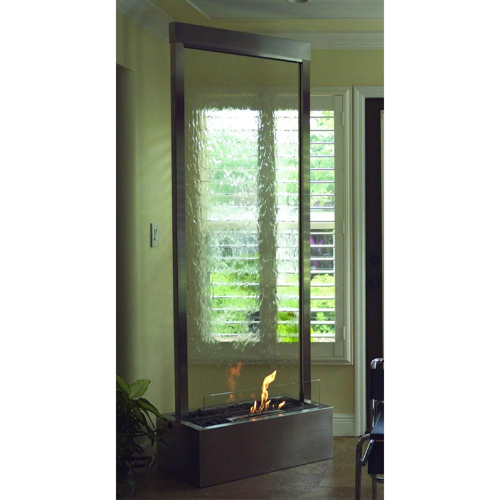 Nu-Flame 8 ft. Gardenfall Bio-Ethanol Fire-Fountain in Stainless Steel and Clear Glass