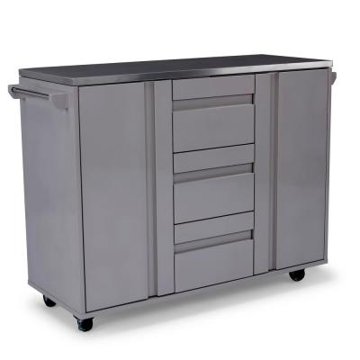 Linear Gray Kitchen Cart with Stainless Steep Top