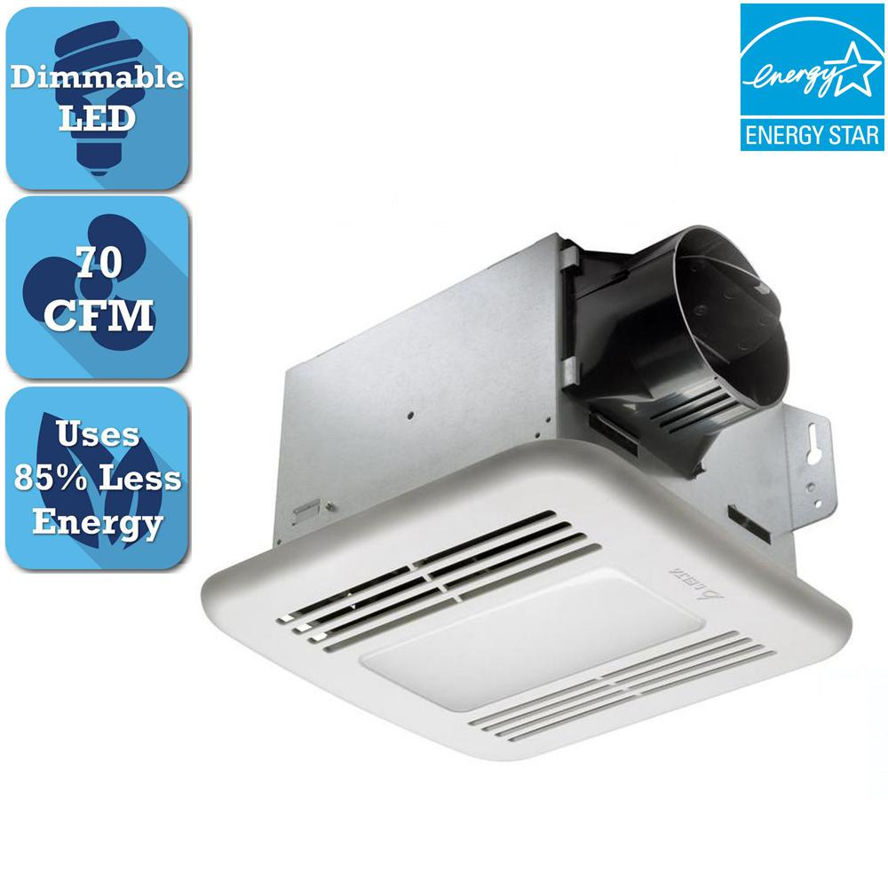 DeltaBreez Delta Breez Integrity Series 70 CFM Ceiling Bathroom Exhaust Fan with LED Dimmable Light, ENERGY STAR, White