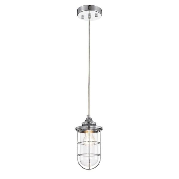Tiago 5 in. 1-Light Indoor Chrome Pendant Light with Light Kit