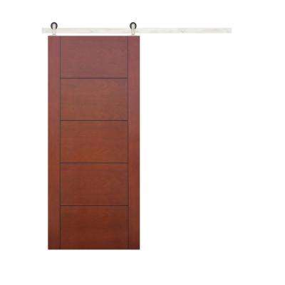 30 in. x 80 in. 5-Panel Prefinished Flush Mahogany Wood Barn Door with Stainless Steel Sliding Door Hardware Kit