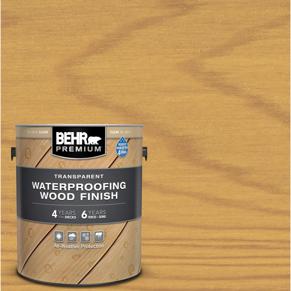 BEHR PREMIUM 1 gal. Clear Transparent Waterproofing Exterior Wood Finish