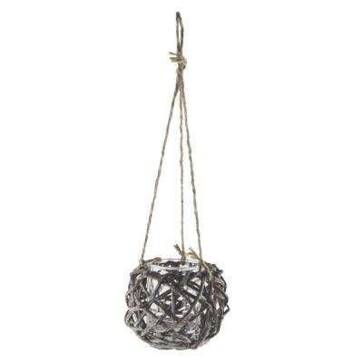 5 in. Hanging Grapevine Basket with 3 in. x 4 in. Glass Cylinder