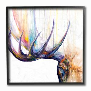 12 in. x 12 in. ''Rainbow Watercolor Dripping Moose Antlers'' by MarcAllante Framed Wall Art