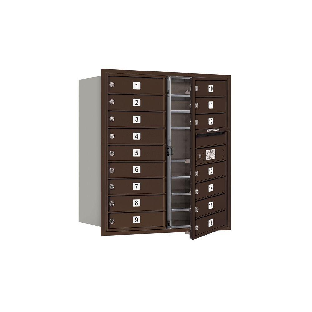 Salsbury Industries 3700 Series 34 in. 9 Door High Unit Bronze USPS Front Loading 4C Horizontal Mailbox with 16 MB1 Doors