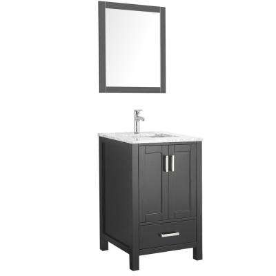 Amaya 24 in. Bathroom Vanity in Espresso with Marble Vanity Top in Cararra White with White Ceramic Basin and Mirror