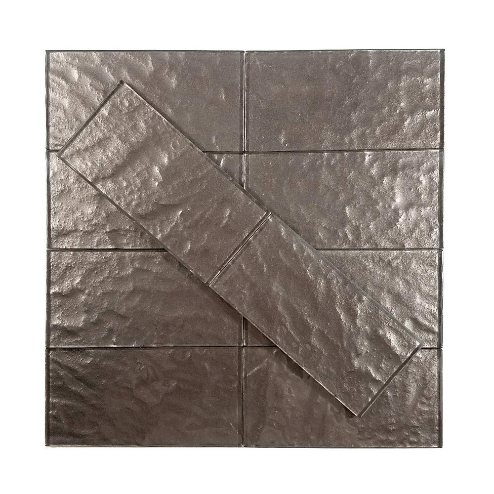 Metallics Brown Textured 3 in. x 6 in. Glass Wall Tile